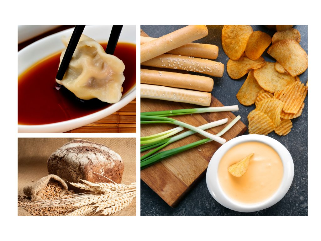 a grouping of photos of food enhanced by enzymes including dumplings, bread and chips