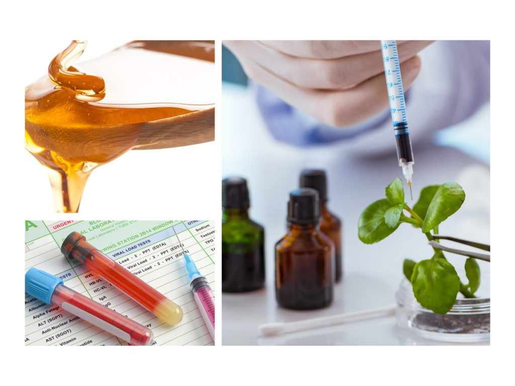 a collage of three photos one being an overflowing thick yellow liquid, vials of blood on a chart, and a syringe filled with black liquid being used on a small green plant.