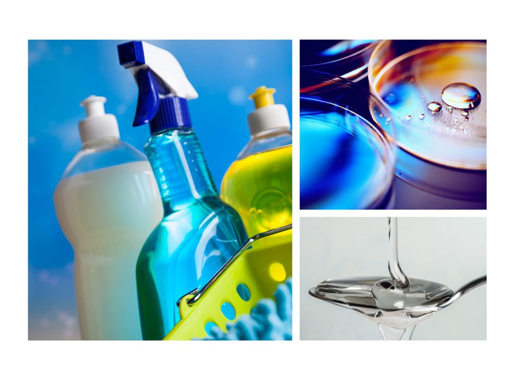 a grouping of photos of cleaning supplies, liquids in a tray, and a substance being poured onto a spoon